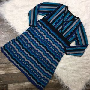 LANE BRYANT 22 24 Chevron Stripe Knit Kimono Dress